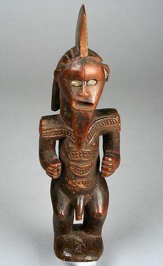 Figure: Male 19th–20th century Republic of Congo Wood, shell