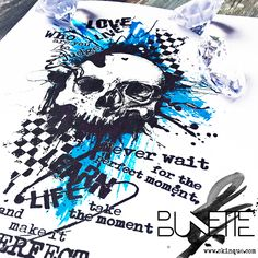 Trash polka abstract skull text tattoo idea inspiration bunette