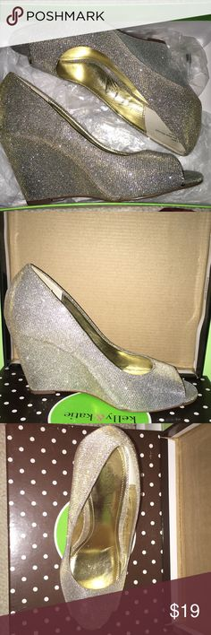 Silver sparkly wedge heels Sparkly wedges, open toed shoes Kelly & Katie Shoes Wedges