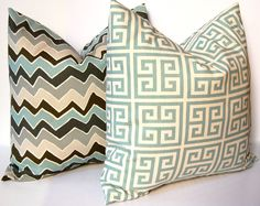 Chevron Pillow Covers 18 x 18 Throw Pillow Covers, Accent Pillows, Wonky Blue and Gray Chevron and Greek Key PIllows. $32.00, via Etsy.