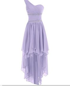 Cute One Shoulder HIgh Low Lavender Chiffon Sweetheart Prom Dress, Wedding Party Dresses , Bridesmaid Dress