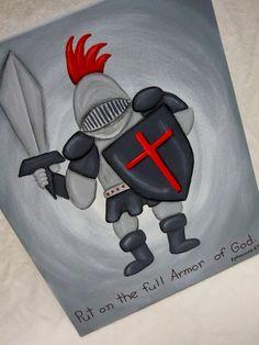 The Armor of God 16x20 painted canvas scripture by STROKESofFAITH