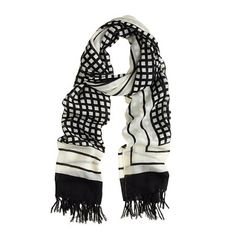You can't go wrong with a Black + White patterned scarf.  This one is dreamy!