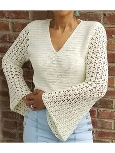 Ravelry: Bell Sleeve Top pattern by Gu'Chet paid pattern so beautifulCrochet Home Decor - Stitch this beautiful top using sport-weight yarn and sizes and crochet hooks. Pattern includes written instructions and photo illustrations. Cardigan Au Crochet, Cardigan Pattern, Crochet Cardigan, Top Pattern, Jacket Pattern, Free Pattern, Pull Crochet, Knit Crochet, Crochet Hooks