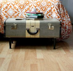 diy project: ashley's vintage-suitcase coffee table – Design*Sponge Vintage Suitcases, Vintage Luggage, Vintage Trunks, Vintage Books, Upcycled Furniture, Diy Furniture, Plywood Furniture, Industrial Furniture, Vintage Industrial
