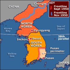 After world war ii north and south korea split the north was map showing advance by the north koreans to the pusan perimeter and the counteroffensive pushing them back towards the china border two months later gumiabroncs Images