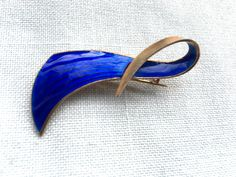 Blue silver enamel brooch by Norwegian designer Albert Scharning. Read more about the designer at web page: http://solvstempler.no/albert_scharning.html