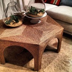 taking mod podge and hemp to the next interestingly shaped coffee table I come across