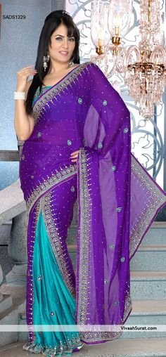 Beautiful Purple Ready Pleated Saree. Prev | Next    vivaahsurat.com
