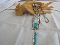 Navajo Old Pawn Sterling Silver & Turquoise Feather Necklace- Signed S C