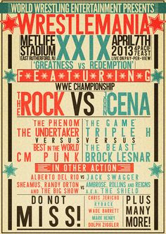 A promotional poster created for WWE Wrestlemania created in a vintage boxing poster style. Wrestling Posters, Boxing Posters, Retro Typography, Typography Poster, Boxing Events, Event Logo, Brock Lesnar, Professional Wrestling, Vintage Box
