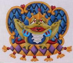 Liz Goodrick-Dillon Frog Prince Hand Painted Needlepoint Canvas