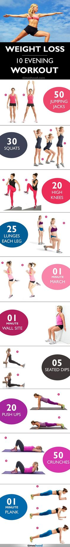 10 Effective Workout for Weight Loss. Fat Burn Evening Workout