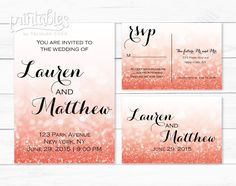 Coral Wedding Invitation with RSVP Postcard  by PrintablesByTC