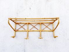 Vintage French Rattan Coat Rack with 4 Hooks and Shelf, Bamboo, Entryway, Mudroom, Bathroom, Bedroom, Playroom, Restaurant, Café, Nursery by LaBelleRuche on Etsy