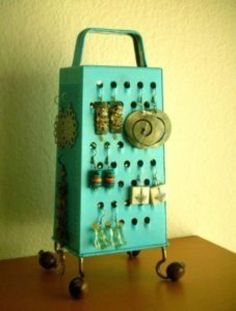 Unique Earring Stand, Fun Surrealistic Style Retro Industrial Object,Turquoise , Re Purposed Cheese Grater – About jewelry organizer diy Jewellery Storage, Jewellery Display, Jewelry Organization, Earring Display, Earring Storage, Earring Hanger, Earring Tree, Organization Hacks, Organizing Ideas