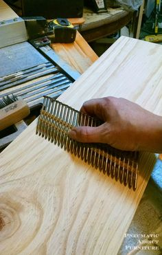 Pneumatic Addict : How to Get a Textured, Raised Grain on Wood Woodworking Patterns, Woodworking Techniques, Woodworking Projects Diy, Woodworking Plans, Diy Projects, Distressed Wood Furniture, Weathered Wood, Distressing Wood, Barn Wood Projects