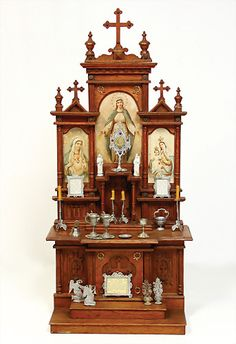 Ladenburger Spielzeugauktion GmbH Altar Design, Niche Design, Home Altar Catholic, Church Interior Design, Prayer Corner, Goth Home, Church Architecture, Pooja Rooms, Prayer Room