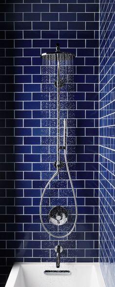 Blue subway tile bathroom from Kohler Blue Subway Tile, Blue Tiles, Downstairs Bathroom, Bathroom Renos, Bathroom Tiling, Bathroom Remodelling, Washroom, Bathroom Fixtures, Bad Inspiration