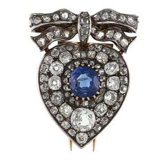 Silver/ Gold Sapphire and 4 1/2ct TDW Diamond 1800's Brooch (K-L, I1-I2) | Overstock.com