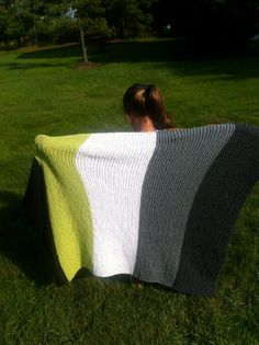 Hand Knit Baby Blanket, Charcoal Gray, Silver Grey, White, Lime & Navy, Stripes, Simple, Modern, Free Shipping. $65.00, via Etsy.