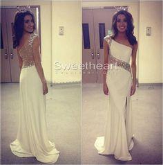white long prom dress,prom dresses,evening dress #prom #dress #promdress