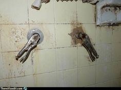 judging from the state of that shower, the knobs are the least of his problems
