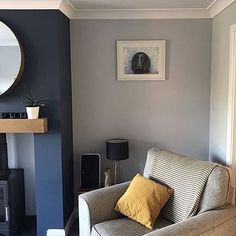 Interior Paint Colors For Living Room, Blue Living Room Decor, Living Room Paint, New Living Room, Living Room Bedroom, Blue And Cream Living Room, Feature Wall Living Room, Red Rooms, Room Ideas Bedroom