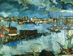 "expressionism-art: ""Stockholm Harbour by Oskar Kokoschka """