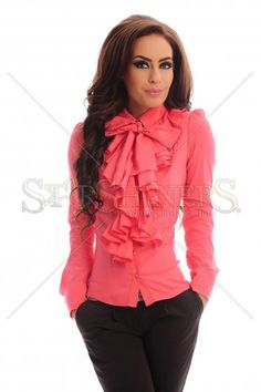 PrettyGirl Frill Guts Coral Shirt Cute Blouses, Shirt Blouses, Bow Blouse, Ruffle Blouse, Coral Shirt, Fashion Outfits, Womens Fashion, Fashion Tips, Satin Blouses