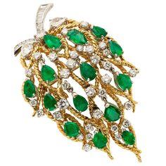 Emerald and Diamond Brooch, Pendant - TEW Galleries