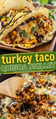 A healthy Mexican Skillet Recipe makes a great family weeknight meal for busy moms! Turkey Taco Quinoa Skillet is made with ground turkey, quinoa, black beans, corn, tomatoes, and Mexican spices all cooked together in just one skillet! Make this quick and easy dinner recipe for the family!