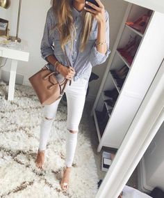 White Distressed Denim & Clear Heels