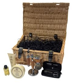 The Luxury Mens Grooming Hamper is a superb gift for the discerning man. Containing a full premium shaving experience and a complete manicure set.