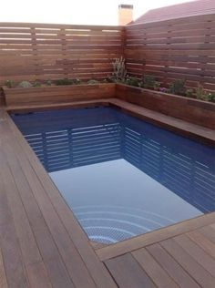 Piscina madera Tropical Backyard, Small Backyard Pools, Small Pools, Decks Around Pools, Pool Decks, Luxury Swimming Pools, Swimming Pool Designs, Piscina Rectangular, Little Pool