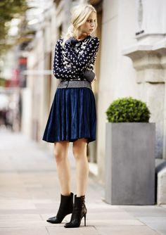 velvet skirt, patterned b&w sweater... ankle boots
