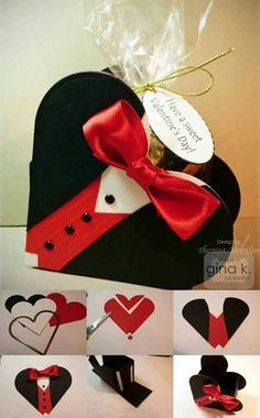 Tuxedo Heart Box by TheresaCC - Cards and Paper Crafts at Splitcoaststampers Valentines Bricolage, Valentine Day Crafts, Love Valentines, Homemade Valentines, Craft Gifts, Diy Gifts, Gifts For Him, Crafts For Kids, Paper Crafts