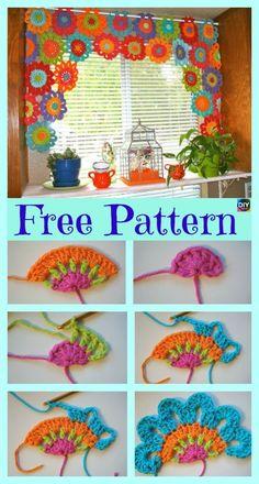Crochet Pattern For Beginners Beautiful Crochet Flower Power Valance – Free Pattern Beau Crochet, Crochet Puff Flower, Crochet Hook Set, Crochet Flower Patterns, Crochet Home, Crochet Gifts, Crochet Designs, Crochet Yarn, Crochet Flowers