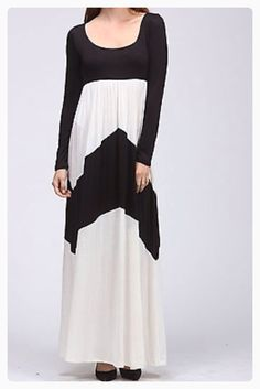 Black and white long sleeve chevron maxi dress
