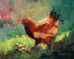 """Daily+Paintworks+-+""""First+Day+Out-+hens+and+chicks""""+-+Original+Fine+Art+for+Sale+-+©+Mary+Maxam"""