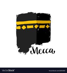 Brush painted islamic symbol kaaba in mecca vector image on VectorStock Mecca Mosque, Mecca Kaaba, Mecca Wallpaper, Quran Wallpaper, Galaxy Wallpaper, Islamic Posters, Islamic Art, Islamic Decor, Mosque Vector