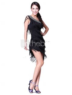 Dancewear Cotton/Polyester with Crystal/Tassels Performance Latin Dance Dress For Ladies More Colors - USD $ 33.59