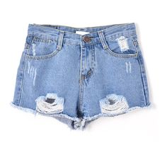 Light Blue Korean Style All-match Ripped Denim Shorts (€18) ❤ liked on Polyvore featuring shorts, bottoms, chicnova, denim shorts, destroyed denim shorts, jean shorts, distressed denim shorts, denim short shorts and torn jean shorts