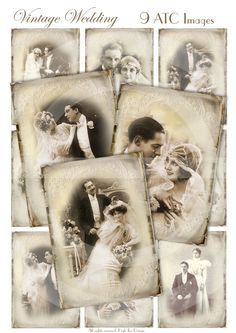 VINTAGE WEDDING - Set of 9 Atc cards - Collage Sheet -  Digital Download - Anniversary - Love