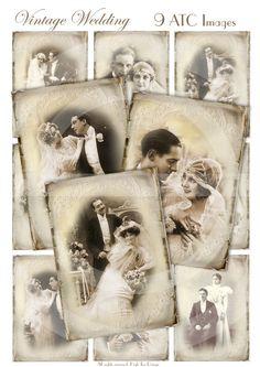 VINTAGE WEDDING - Set of 9 Atc cards - Collage Sheet -  Digital Download - Anniversary - Love