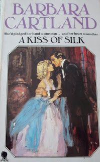 """A Kiss of Silk was a 1980 version published by Sphere. This copy is a UK version . This story is about Varia, who takes a job for Sir Edward, to pose as his son's fiancee as he travels to France for a business deal. She accepts, but didn't realize that the challenge would be dangerous to her heart! Francis Marshall creates one of his """"classic"""" cover looks for this book. I like the couple facing one another as if they realize that they're in love!"""