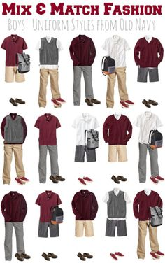 Looking for a way to create a school uniform wardrobe on a budget? Check out this mix and match fashion board for Boys School Uniforms from Old Navy! While its on sale, you can get all of the apparel items for $89 total - and youll have one sharp-looking student!
