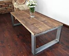 Handmade Rustic Reclaimed Wood & Steel Industrial Bench Table from MadeFromWoodd on Etsy. Diy Coffee Table Plans, Made Coffee Table, Steel Coffee Table, Steel Furniture, Industrial Furniture, Rustic Furniture, Industrial Bench, Wood Table, Dining Table