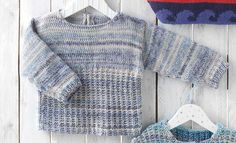 Katia Cotton Jeans Baby jumpers. #BlueJeans Spring · Summer #Colortrend 2015 #KatiaYarns