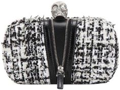 a7c0f07ddb353 Get the trendiest Clutch of the season! The Alexander McQueen Classic Skull  Black White Tweed Clutch is a top 10 member favorite on Tradesy.